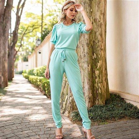 Conjunto de calça e blusa em malha canelada com elastano - VERDE CLARO
