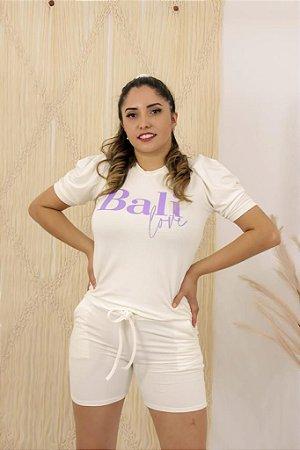 Conjunto de short e blusa em moletinho -OFF WHITE
