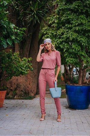 Conjunto de calça e blusa em malha canelada manga princesa - ROSÈ