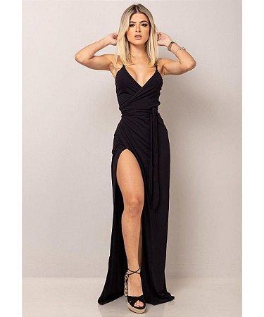 Vestido envelope longo com fenda lateral em viscolycra - PRETO