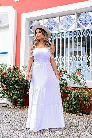 Vestido três marias longo em viscolycra - BRANCO