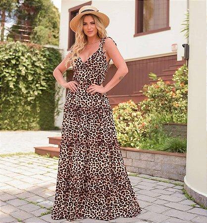 Vestido longo SOPHIA  - ANIMAL PRINT