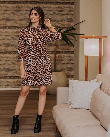 Vestido em viscose Patrícia - ANIMAL PRINT