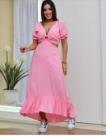 Vestido em viscose Vivi  - ROSA