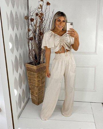 Conjunto de pantalona e cropped - CREME
