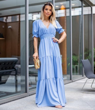 Vestido longo Catherine - AZUL CLARO