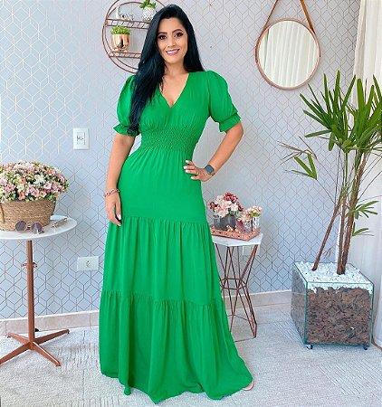 Vestido longo Catherine - VERDE BANDEIRA