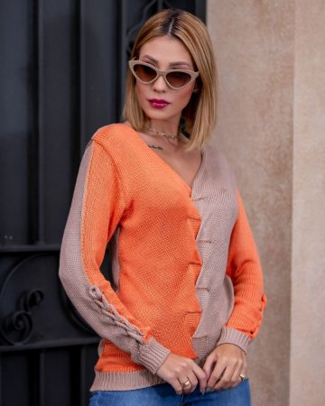 Blusa manga longa em tricot Karoline - LARANJA