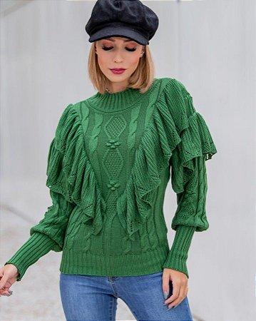Blusa manga longa em tricot Katty - VERDE