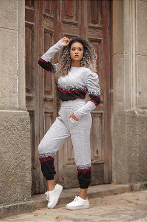Conjunto de calça e blusa manga longa em tricot mousse - cinza
