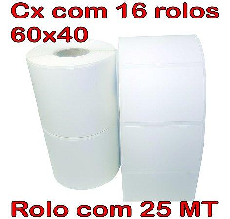 Etiqueta 60x40 Térmica - 16 Rolos - 25 Metros