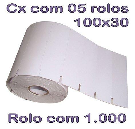 Etiqueta Gôndola 100x30 Branco adesivo - 5 Rolos