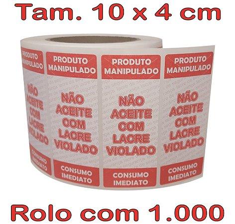 Etiqueta Lacre 100x40 Alimentos - 1.000 etiquetas