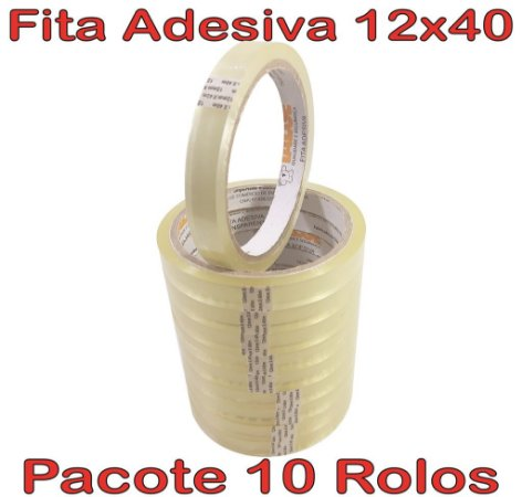 Fita Adesiva Durex Transparente 12mm X 40m - 10 Rolos