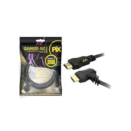 Cabo Hdmi Pix Gamer 2.0 2.0mt 4k Ultra Hd E Hdr Plug 90º 018-0120