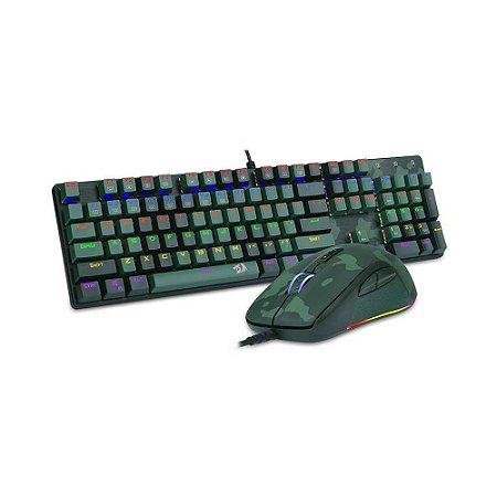 Kit Gamer Redragon S108 Teclado Switch Blue Ansi+Mouse S108