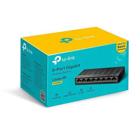 Switch 8 Portas Tp Link Litewave Case Plástico Gigabit 10/100/1000mbps - Ls1008g