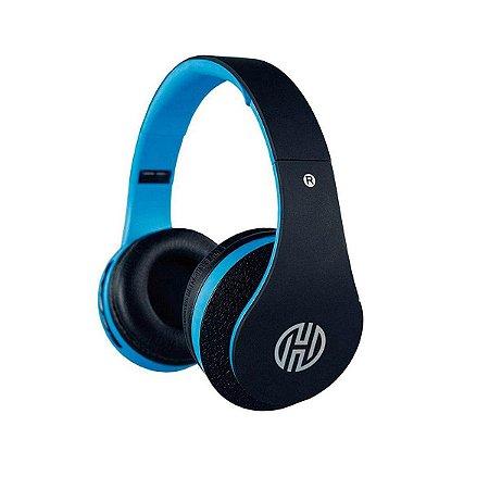 Headphone Hoopson Bluetooth Preto E Azul Com Radio Fm F038 P