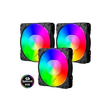 Cooler Redragon Rgb C/ Controle Gc-f007 Kit Com 3 Fans 120mm