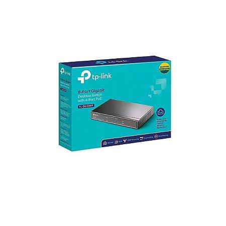 Switch Tp-link 08pt Tl-sg1008p Gigabit Com 4 Portas Poe