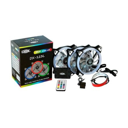 Kit 3 Cooler Fan Rgb 12cm C/ Controle E C/ Fita Led Rgb 30Cm