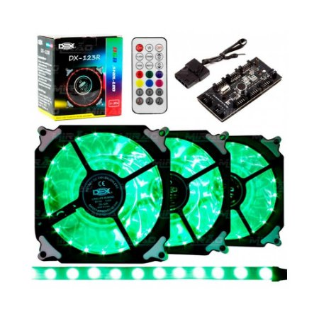 Kit Cooler Fan Dex Rgb C/ Controle Dx-123r 1 Fita Led Kit 3