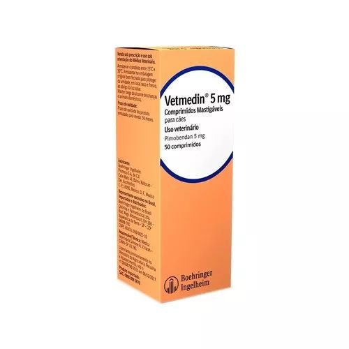 Vetmedin Boehringer Ingelheim 5mg 50 Comprimidos Mastigáveis para Cães