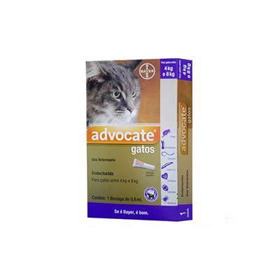 Advocate gatos entre 4 Kg e 8 Kg, bisnaga (0,8 mL)