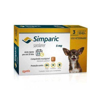 Simparic cães de 1,3 kg a 2,5 kg 5 mg, comprimido mastigável (3 un)