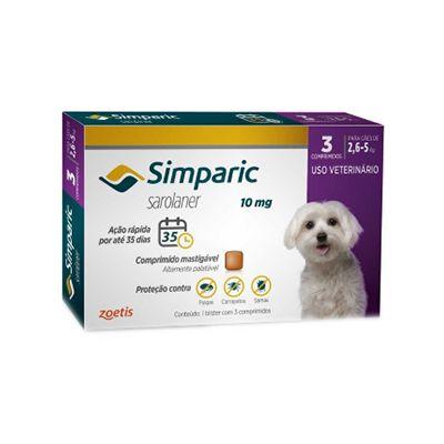 Simparic cães de 2,6 kg a 5,0 kg 10 mg, comprimido mastigável (3 un)