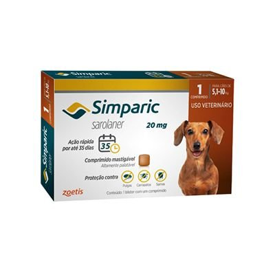 Simparic cães de 5,1 kg a 10,0 kg 20 mg, comprimido mastigável (1 un)
