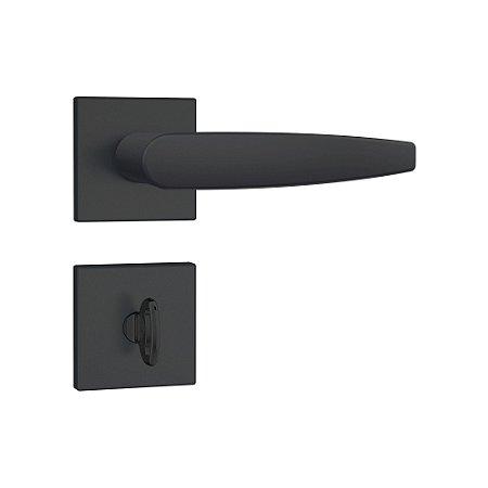 Fechadura para Banheiro Roseta Quadrada Preto Fosco 823/33 Stam