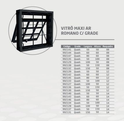 Vitro Maxi CRV 60x60 Vidro Quadriculada Requadro 14 cm - CRV