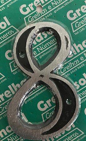 Algarismo Aluminio Medio Lixado Numero 8 - Grelhasol