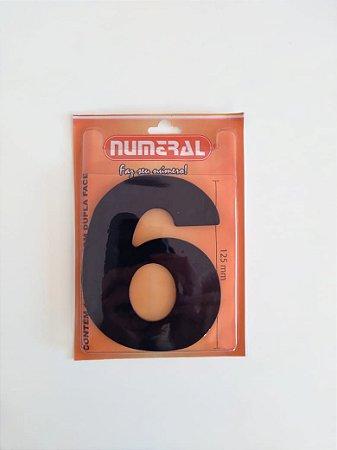 Número Preto 6 Adesivado - Numeral