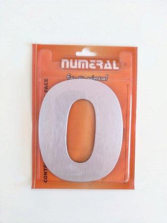 Número Aço Escovado 0 Adesivado - Numeral
