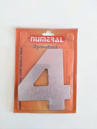 Número Aço Escovado 4 Adesivado - Numeral
