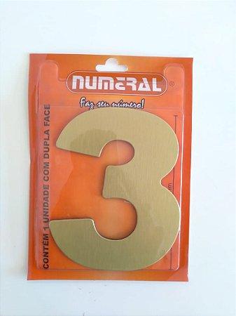 Número Dourado Escovado 3 Adesivado - Numeral