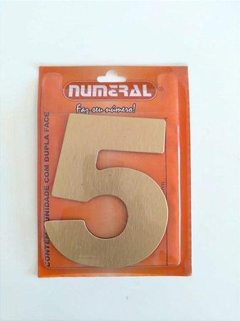Número Dourado Escovado 5  Adesivado- Numeral