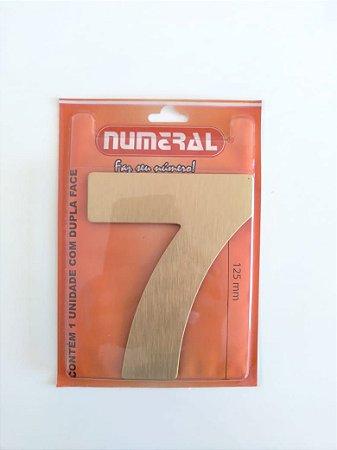 Número Dourado Escovado 7 Adesivado - Numeral