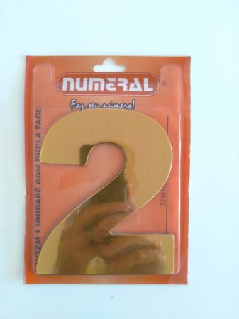 Número Dourado 2 Adesivado - Numeral