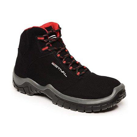 Sapato de Segurança Em Microfibra Preto e Vermelho Estival Tamanho 43 -  Ca
