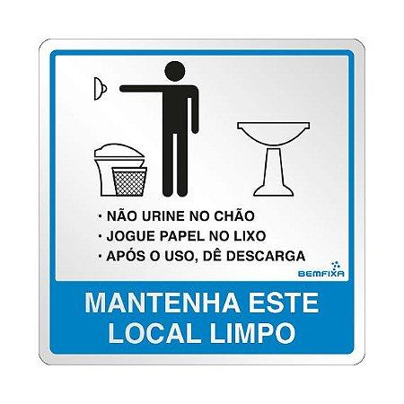 Placa Banheiro Masculino Com Instruções- Autoadesiva- Bemfixa