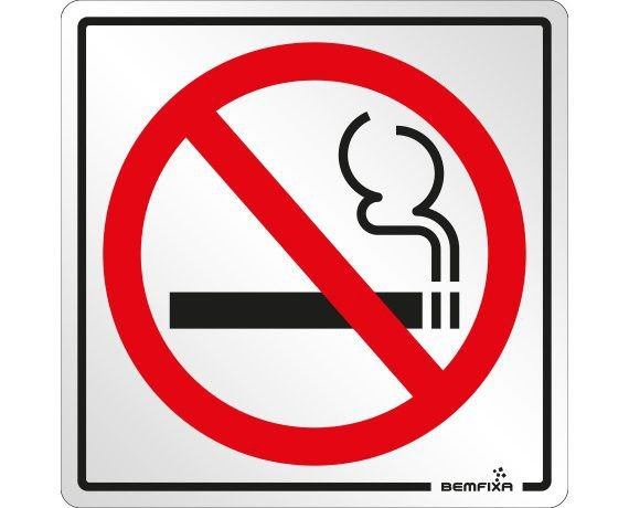 Placa Proibido Fumar - Autoadesiva- Bemfixa
