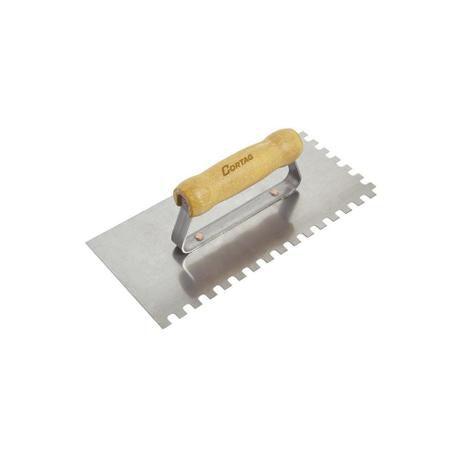 Desempenadeira Em Aço Dentada Cabo de Madeira 25,6x12cm (dente 10mm) - Cortag