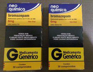 2 caixas - BROMAZEPAM 6MG - 30 COMPRIMIDOS