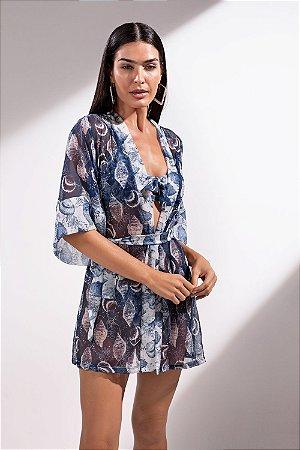 Kimono Curto Fundo do Mar - Silvia Schaefer