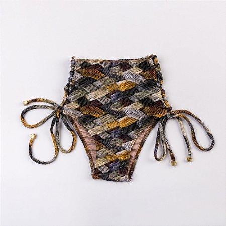 Calcinha Hot Pant Estampada Cordas - Silvia Schaefer