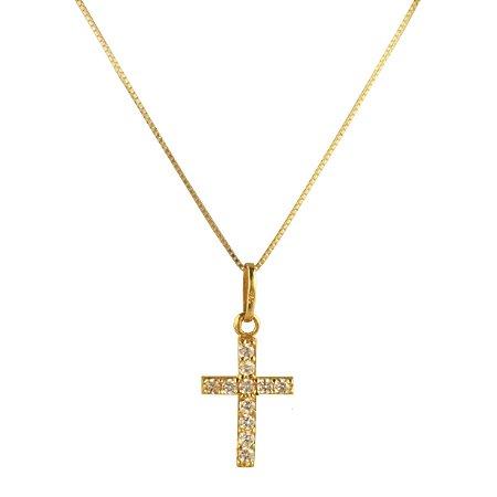 Pingente cruz com zirconias em ouro amarelo 18k PC 1.67