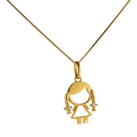 Pingente menina com zirconia em ouro amarelo 18k PC 2.71